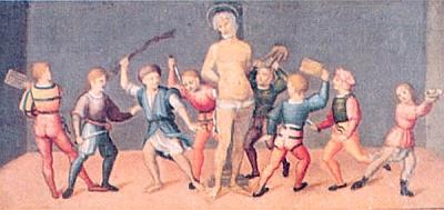 the painting 'Martirio di S. Cassiano' ('Martyrdom of Saint Cassian'), c.1500, by Innocenzo Francucci