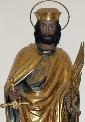 statue of Saint Castulus of Rome, Ursula chapel, Kastulusmünster, Moosburg; photographed on 13 January 2012; swiped from Wikimedia Commons