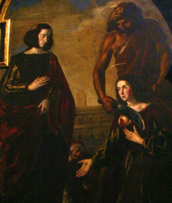 detail from the 17th century painting 'The Martyrdom of Saints Centola and Helen' by Juan Ruiz; Cathedral of Burgos, Spain; photographed on 27 January 2013 by José Luiz Bernardes Ribeiro; swiped off Wikimedia Commons