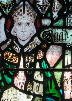 detail of a stained glass window of Saint Chad of Mercia, 1920 and artist unknown; Chapel of the Holy Cross Monastery, West Park, New York; photographed on 9 July 2007 by Randy OHC; swiped from Wikimedia Commons
