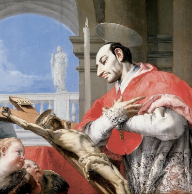 detail of a painting of Saint Charles Borromeo by Giovanni Battista Tiepolo, c.1768; Cincinnati Art Museum, Cincinnati, Ohio, USA; swiped from Wikimedia Commons