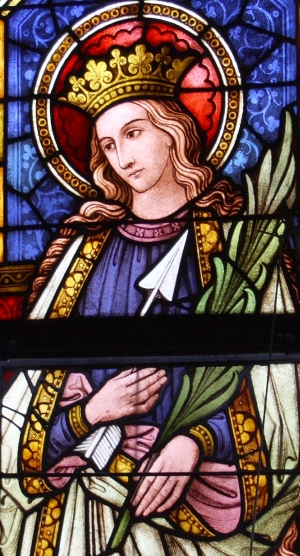 detail of a stained glass window of Saint Frederick of Utrecht; c.1847, artist unknown; parish church of Saint Michael, Mayen-Koblenz, Germany; photographed on 15 September 2012 by GFreihalter; swiped from Wikimedia Commons