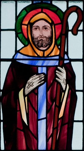 detail of a stained glass window of Saint Colman of Lindisfarne, date and artist unknown; Saint Benin's Church, Kilbennan, County Galway, Ireland; photographed on 16 September 2010 by Andreas F. Borchert; swiped from Wikimedia Commons