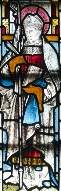 detail of a stained glass window of Saint Cormac of Cashel; late 19th century by Clayton and Bell, London; left-most window, north wall, baptistry, Christ Church Cathedral, High Street, Dublin, County Dublin, Ireland; photographed on 26 September 2012 by Andreas F. Borchert; swiped from Wikimedia Commons