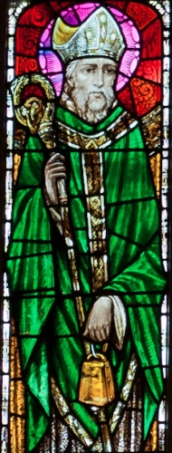 detail of a stained glass window of Saint Declan of Ardmore, date and artist unknown; Church of Our Lady and Saint Kieran, Ballylooby, County Tipperary, Ireland; photographed on 8 September 2012 by Andreas F. Borchert; swiped from Wikimedia Commons