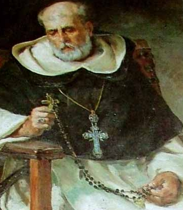 detail of painting of Saint Domingo Henares de Zafra Cubero, date and artist unknown; swiped from Santi e Beati