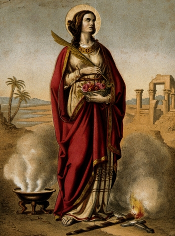 detail of a colour lithograph of Saint Dorothy, date and artist unknown; part of the Wellcome Collection; swiped from Wikimedia Commons