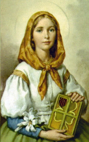 detail of a Saint Dymphna holy card; swiped from Santi e Beat