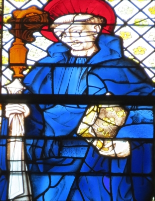 detail of a stained glass window of Saint Évroult of Ouche, date unknown, artist unknown; south aisle, church of Saint-Ouen, Rouen, France; photographed on 4 September 2012 by Giogo