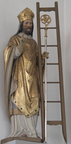 statue of Saint Emmeramus, date and artist unknown; Sankt Emmeram church, Geisenhausen, Pfaffenhofen, Bavaria, Germany; photographed on 25 January 2020 by GFreihalter; swiped from Wikimedia Commons
