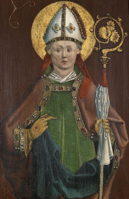 detail of an altarpiece depicting Saint Eucharius; oil and gold on wood, c.1480, artist unknown; photographed on 25 April 2013 by Dorotheum; swiped from Wikimedia Commons
