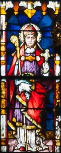 detail of a stained glass window depicting Saint Eugene, created c.1900 by Meyer and Co; Cathedral of Saint Eugene, Derry, Northern Ireland; photographed on 17 September 2013 by Andreas F Borchert; swiped from Wikimedia Commons
