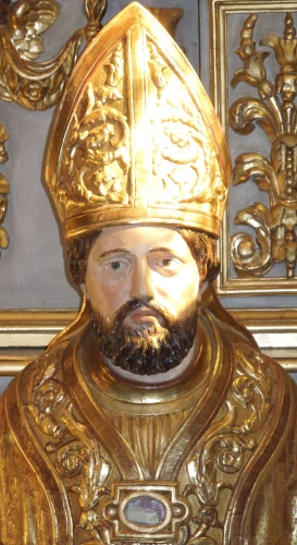 reliquary bust of Saint Fleuret, date and artist unknown; chappel of Saint Fleuret, Estaing (Aveyron, France); photographed on 22 April 2015 by Finoskov; swiped from Wikimedia Commons