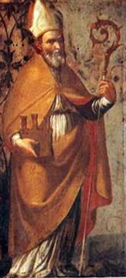 detail of an Italian holy card of Saint Florido of Città di Castello, date and artist unknown; swiped from Santi e Beati
