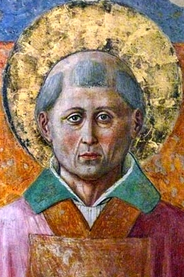 detail from a fresco of Saint Fortunatus of Spoleto, convent of San Fortunato, Montefalco, Italy; photographed in May 2007 by Zyance; swiped off Wikipedia