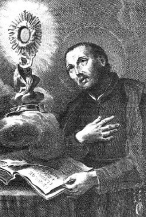 18th century illustration of Saint Francis Caracciolo; artist unknown; uploaded by MaryHenryettaCarson; swiped from Wikimedia Commons