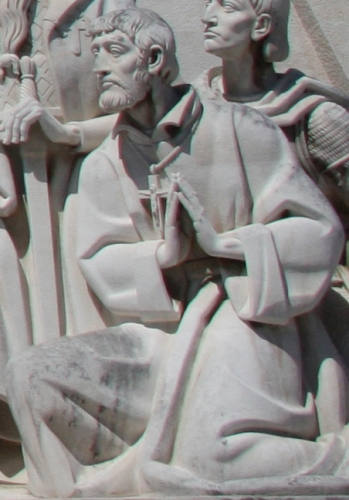 detail of a statue of Saint Francis Xavier, Monument to the Discoveries, Lisbon, Portugal; date and artist unknown; swiped from Wikimedia Commons