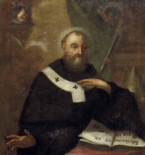detail of a 17th century portrait of Saint Fulgentius of Ruspe, artist unknown