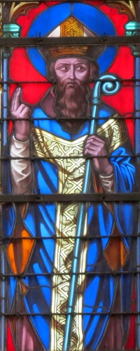 detail of stained glass window of Saint Gerbaud, Bishop of Bayeux; by Étienne-Hormidas Thevenot, 1848; north transept, Cathedral of Bayeux, France; photographed on 16 August 2012 by Yoke; swiped from Wikimedia Commons; click for image source
