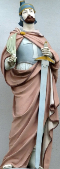sculpture of Saint Gereon; date unknown, aritst unknown; Church of Saint Gereon, Berkum, Wachtberglifte, Germany; photographed on 30 April 2010 by GFreihalter; swiped from Wikimedia Commons