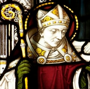 detail of a stained glass window of Saint Germanus of Auxerre; 1907, artist unknown; Truro Cathedral, Cornwall, England; photographed on 26 February 2012, photographer uknown; swiped Wikimedia Commons