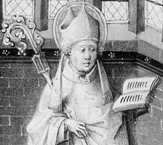 detail of an illustration of Saint Germanus of Paris by Jean le Tavernier from a Book of Hours, c.1455; swiped from Wikimedia Commons