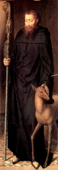 detail of a painting of Saint Giles; by Hans Memling, 1491; oil on panel, altar triptych, Cathedral of Lübeck, Germany; now in the Sankt-Annen-Museum, Lübeck, Germany; swiped from Wikimedia Commons