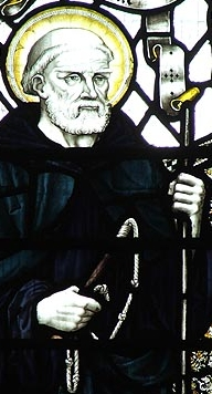 detail of a stained glass window of Saint Guthlac of Croyland; artist unknown, 19th century; Crowland Abbey, Lincolnshire, England; swiped from Wikimedia Commons