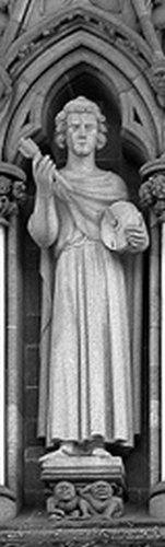 statue of Saint Hallvard, date and artist unknown; front of the west side oof the Nidaros Cathedral, Trondheim, Norway; photographed in 2005 by E. Dreier; swiped from Wikimedia Commons
