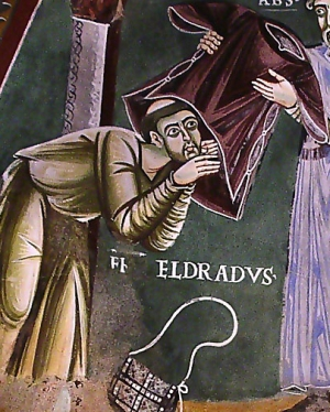 detail of a fresco of Saint Heldrad of Novalese receiving the habit of his Order, Novalesa Abbey, 11th century, artist unknown; photographed on 27 October 2007 by Duvilar; swiped off Wikipedia