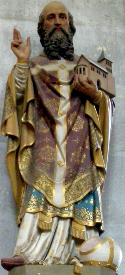 polychrome statue of Saint Hydulphe; 19th century, artist unknown; abbey church of Moyenmoutier, Vosges, France; photographed on 13 May 2008 by Ji-Elle; swiped from Wikimedia Commons