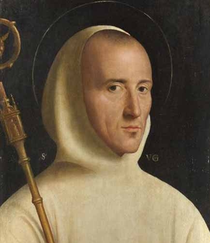 detail of a portrait of Saint Hugh of Grenoble by an anonymous painter, c.1525; London National Gallery, London, England; swiped from Wikimedia Commons