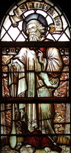 detail of a stained glass window of Saint James the Lesser, 1901,artist unknown; Saint Mark's Church, Lymington Avenue, London, England; photographed on 15 July 2001 by John Salmon; swiped from Wikimedia Commons