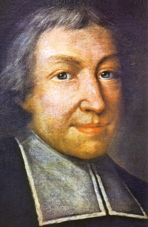 detail of the official portrait of Saint John Baptist de La Salle; Pierre Leger, date unknown; swiped from Wikimedia Commons