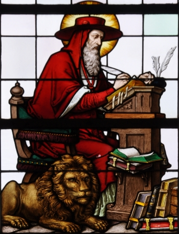 detail of a stained glass window of Saint Jerome; 19th century by F X Zettler, Munich, Germany; parish church of Saint Alban, Gutenzell-Hürbel, Biberach, Germany; photographed in January 2015 by Andreas Praefcke; swiped from Wikimedia Commons