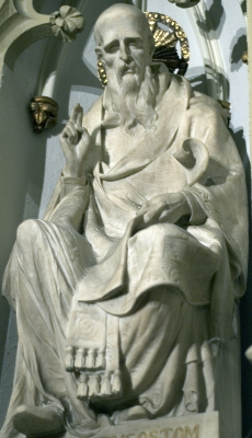 detail of a statue of Saint John Chrysostom, Saint Patrick's Cathedral, New York, New York