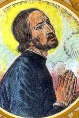 detail of a Saint John Lloyd holy card, date and artist unknown; swiped from Santi e Beati