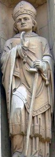 statue of Saint John of Beverley; date and artist unknown; Minster, Beverley, East Riding of Yorkshire, England; photographed on 10 June 2002 by Graham Hermon; swiped from Wikimedia Commons