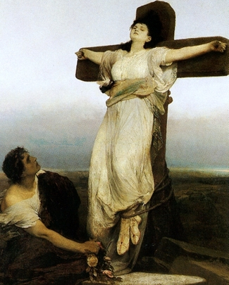 detail of a painting of Saint Julia; painting sometimes listed as 'Crucified Martyress'; 1866 by Gabriel von Max; Galerie Marold, Prague, Czech Republic; swiped from Wikimedia Commons