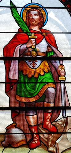 detail of a stained glass window of Saint Julian the Hospitaller; date and artist unknown; Saint-Julien, Puy-de-Dôme, France; photographed on 15 July 2007 by Romary; swiped from Wikimedia Commons