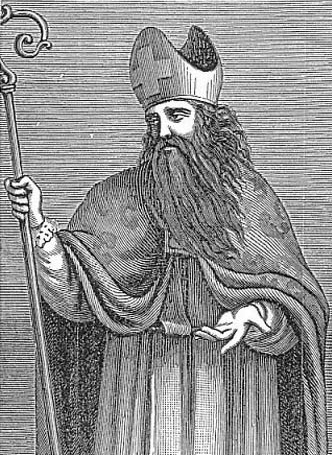 detail of an illustration of Saint Justus of Urgell, date and artist unknown; swiped from Santi e Beati