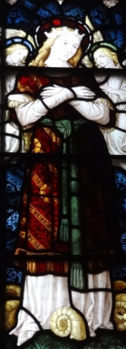 detail of a stained glass window of Saint Keyne, date and artist unknown; Brecon Cathederal, Brecon, Wales; photographed on 12 November 2017 by RwthTomos1948