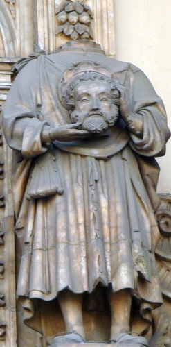 statue of Saint Lambert of Saragossa carrying his severed head; date and artist unnown; Basilica of Santa Engracia Church, Zaragoza, Spain; photographed on 2 January 2010 by Ecelan; swiped from Wikimedia Commons