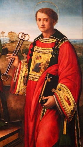 portrait of Saint Leonard of Noblac from the painting 'Saint Laurent between Saint Stephen and Saint Leonard' attributed to Raffaellino del Garbo, early 16th century; basilica of San Lorenzo, Florence, Italy; swiped from Wikimeida Commons