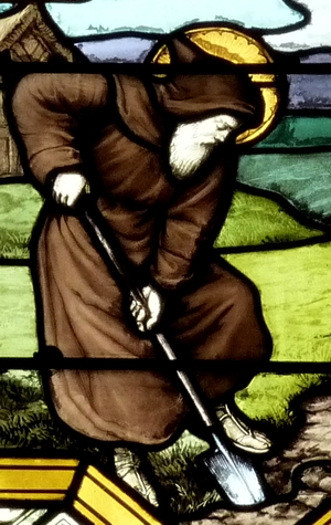 detail of a stained glass window of Saint Leutfridus living in solitude; date and artist unknown; Catholic parish church Cœur-Immaculé-de-Marie, Suresnes, France; photographed on 2 April 2011 by Reinhardhauke; swiped from Wikimedia Commons