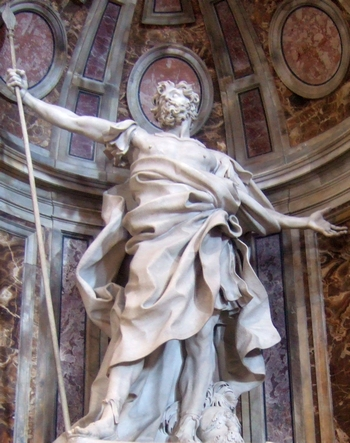 detail of the statue 'Saint Longinus the Centurian'; by Gian Lorenzo Bernini, 1631-1638; Basilica di San Pietro, Vatican City, Rome, Italy; photographed on 23 October 2008; swiped from Wikimedia Commons