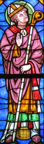 detail of a stained glass window of Saint Lothaire, bishop of Sées; date and artist unknown; north side, Notre Dame cathedral, Sées, France; photographed on 19 August 2012 by Giogo; swiped from Wikimedia Commons
