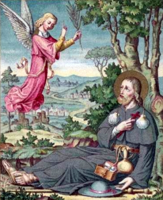 detail of an antique French holy card of Blessed Ludan, date and artist unknown; swiped from Santi e Beati