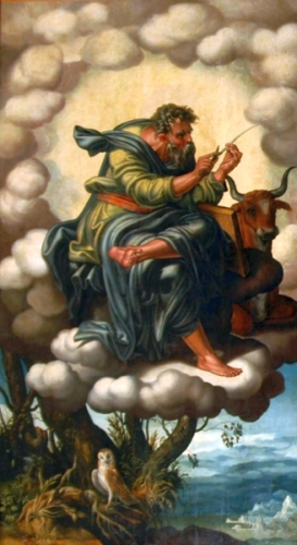 painting of Saint Luke the Evangelist; detail of the altarpiece of the Chapel of the Evangelist, Cathedral of Seville, Spain, by Hernando de Esturmio, early 16th century; swiped from Wikimedia Commons
