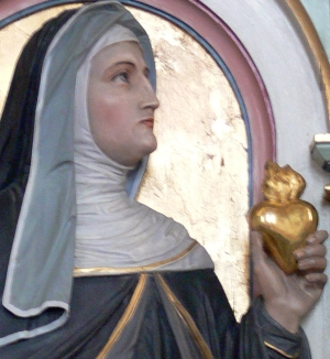 detail statue of Saint Margaret Mary Alacoque, church of Saint Gordian and Saint Epimachus, Merzhofen, Germany, 1896, by Peter Paul Metz; photograph taken in May 2009 by Andreas Praefcke; swiped off Wikipedia